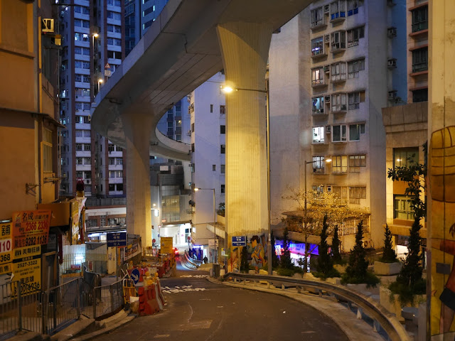 Hill Road in Shek Tong Tsui, Hong Kong, during the evening