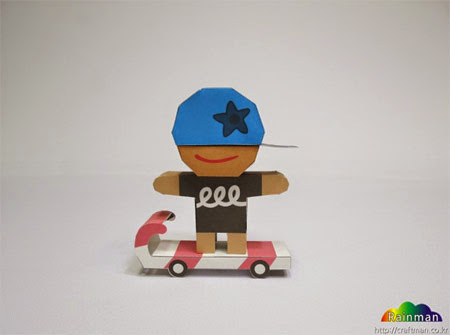 Skateboarder Cookie Paper Toy