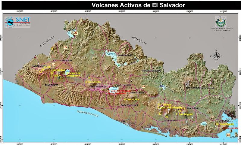 Mapa de volcanes de El Salvador  El Salvador mi pas