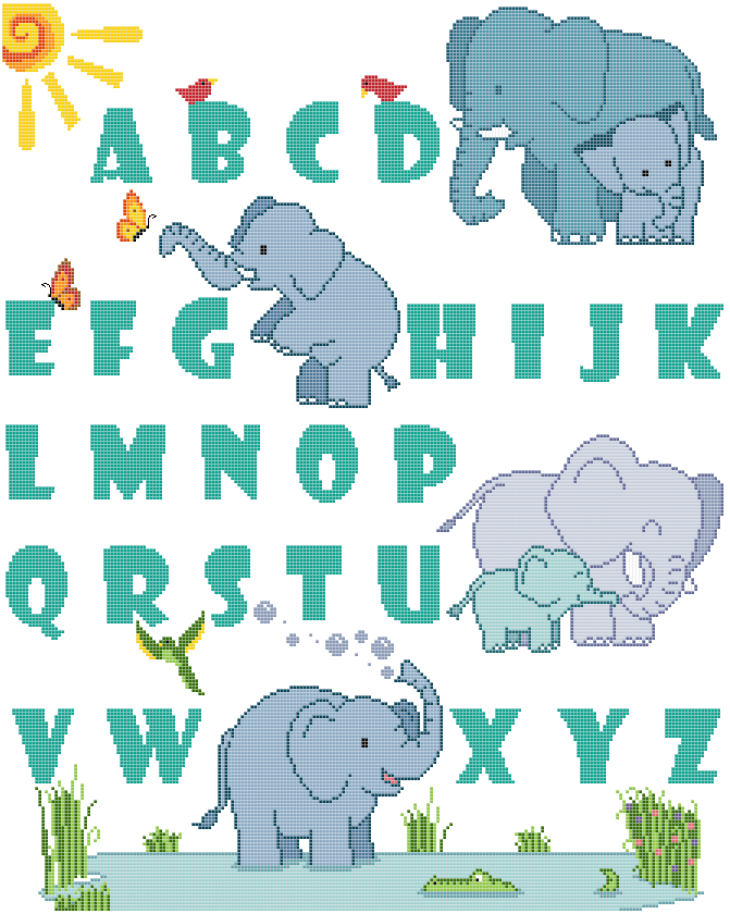 elephant alphabet sampler