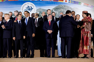 Le G8 en 2009 (Kadhafi à droite...)