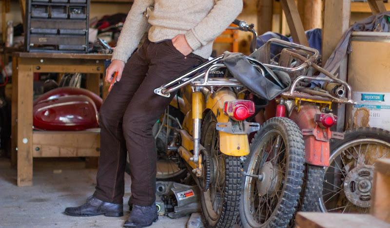 Brown Moleskin Pants: Posing next to Bike