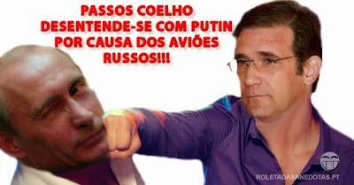 Putin é questionado por Passos Coelho acerca dos aviões bombardeiros russos em Portugal