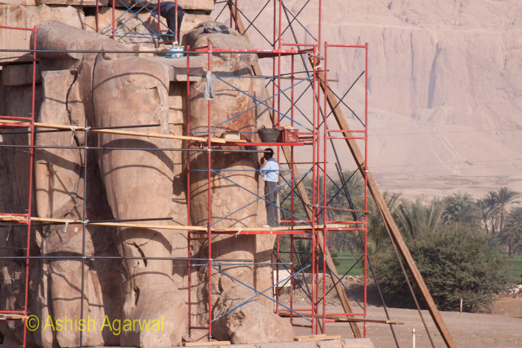 Detailed view of renovation being carried out at the statue at the Colossi of Memnon in Luxor, Egypt