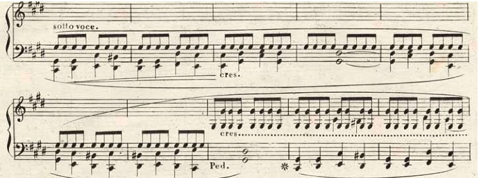 "Middle part of Chopin's Prelude 28 no. 15 ""The Raindrop"""