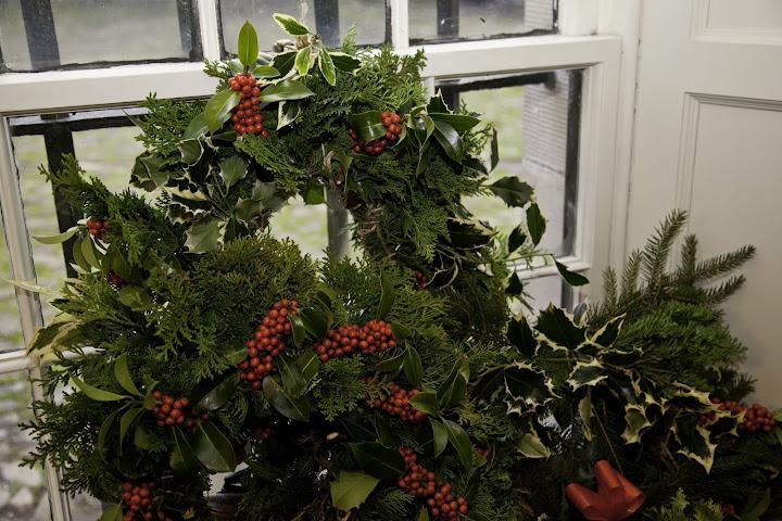 holly wreaths, Drum Castle, Scotland