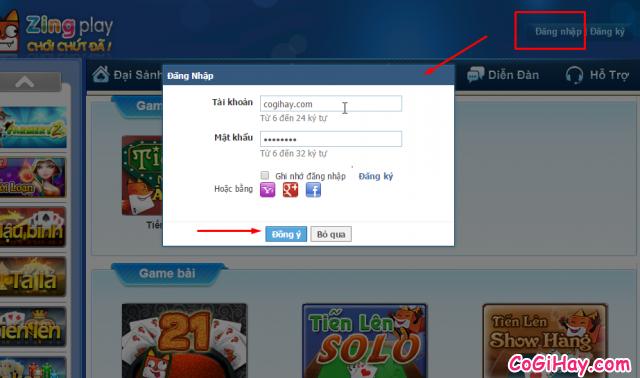 đăng nhập vào Zing Play Client