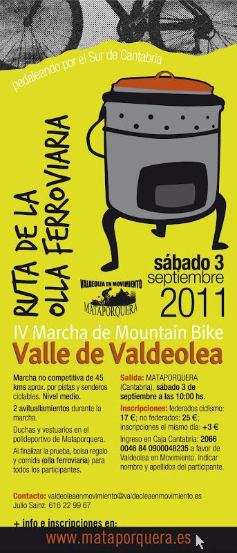 IV MARCHA MTB (VALLE DE VALDEOLEA) - Ruta de la Olla Ferroviaria. INFORMACION2011