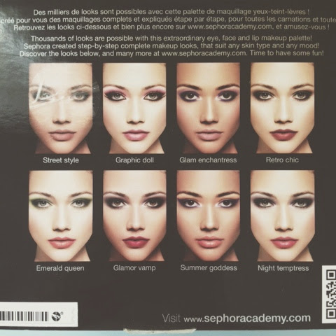 sephora makeup academy palette. box (back; the different types of looks you can achieve with this palette ) sephora makeup academy u