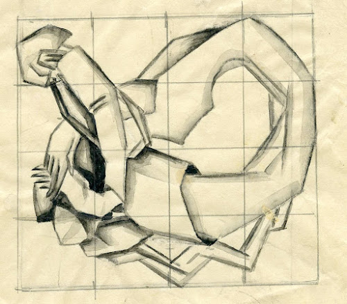 Abstracted figure on a squared grid