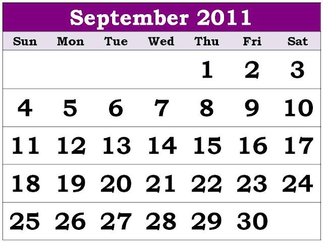 2011 calendar template uk. Plain Calendar 2011 September