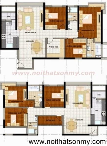 Mặt bằng thiết kế nội thất căn hộ 385