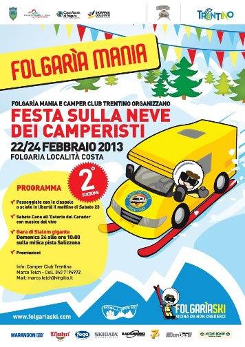 FOLGARIA (TN): Dal 22 al 24 febbraio a Folgaria la Festa sulla Neve dei Camperisti