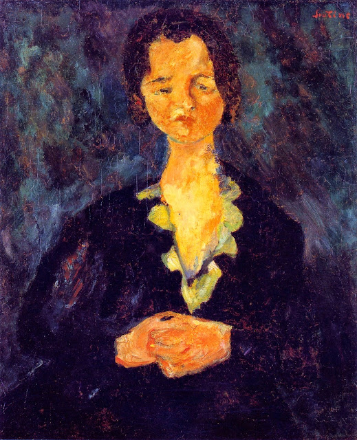 Chaim Soutine - Portrait of a Woman against Blue Background