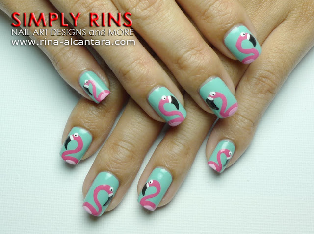 Fun With Flamingos Nail Art Design