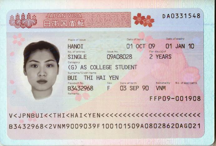 visa của một du học sinh