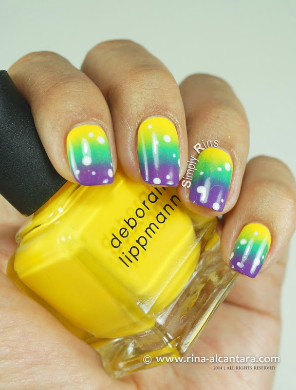80s Gradient Nail Art on Deborah Lippmann Walking on Sunshine