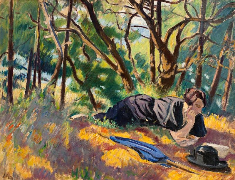 Jean Puy - Jeune femme lisant dans la foręt