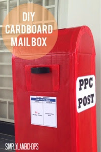 DIY Cardboard Mail Box craft by Simply Lambchops