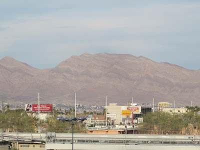 vegas skyline daytime mountains stock photo