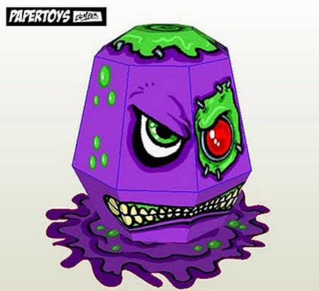 Evil Purple Slime Monster Paper Toy