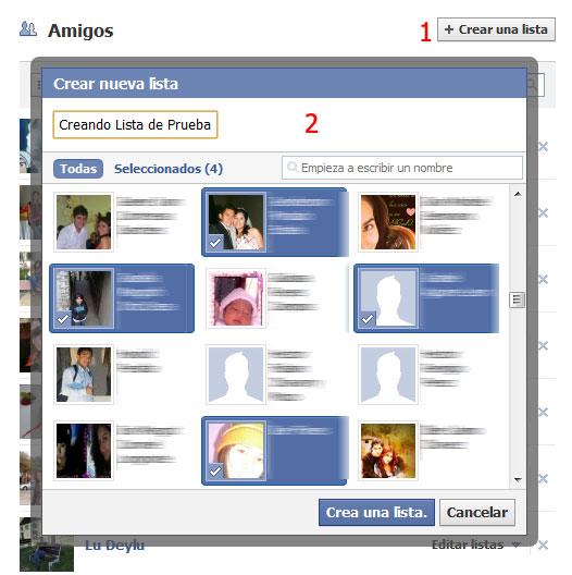Crear Lista Amigos Facebook