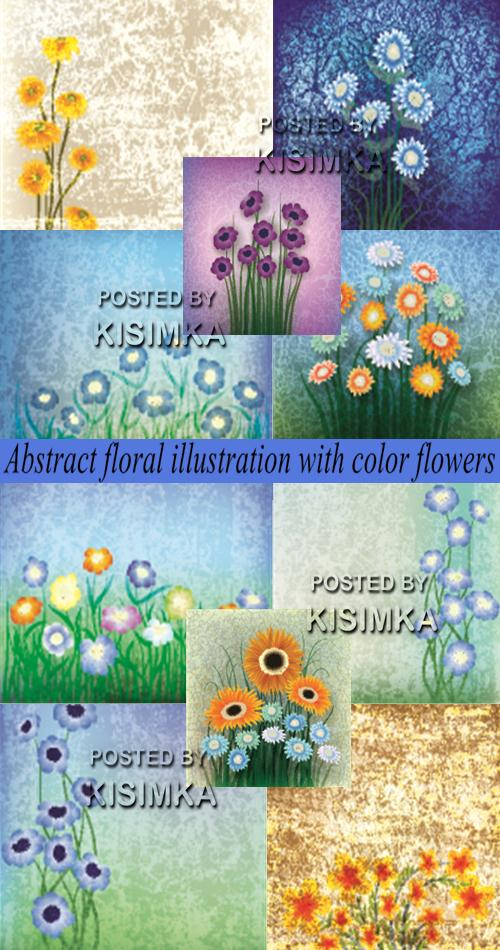 Stock: Abstract floral illustration with color flowers