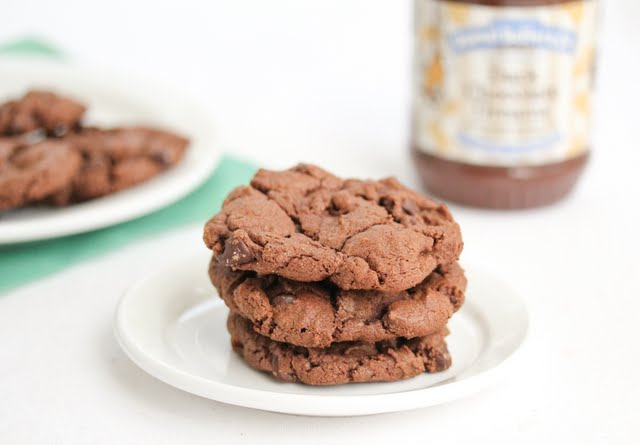 photo of stack of three Flourless Chocolate Peanut Butter Cookies
