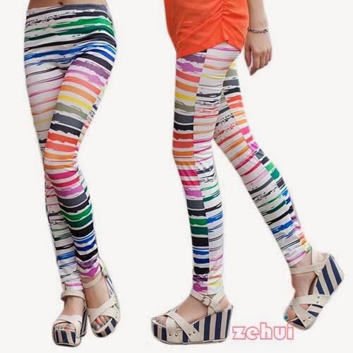 Inspiração: legging estampada - listras coloridas
