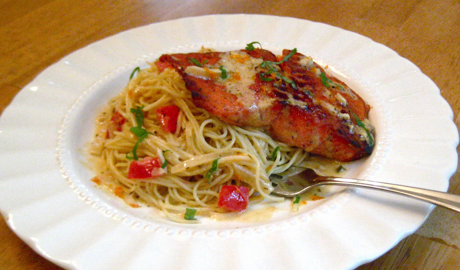 When eight create salmon on angel hair with citrus cream for What wine goes with fish