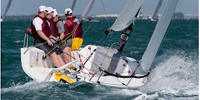 J/70 one-design speedster- sailing team going upwind