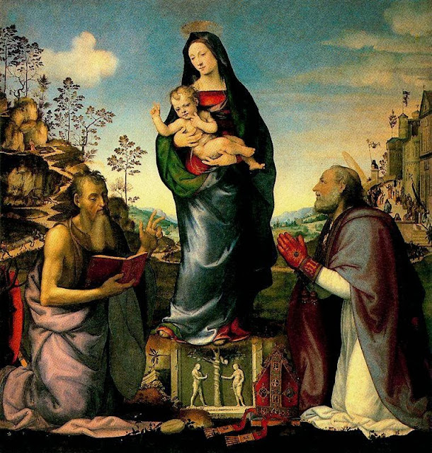 Mariotto Albertinelli - The Virgin and Child, Adored by Saints Jerome and Zenobius
