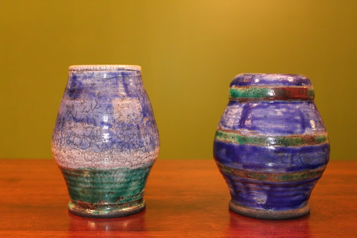 A couple of Raku pots by Erik and Toni Deckers.