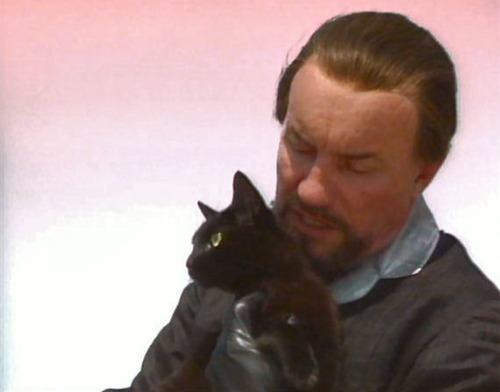 Anthony Ainley and a cat