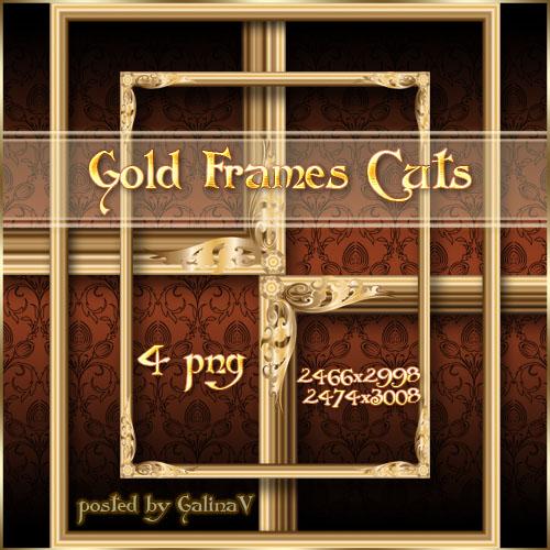 Золотые прямоугольные рамки-вырезы
