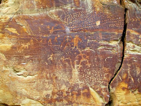 Left side of large petroglyph panel