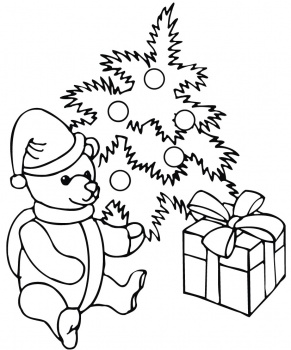 Free Christmas Teddy Bear Kids Coloring Pages