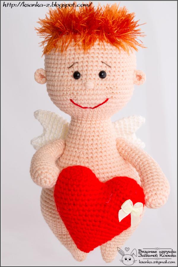 Амигуруми, вязаные игрушки, игрушки спицами, игрушки крючком, вязаный ангел, ангел крючком, Amigurumi, crocheted toys, Knitting toys, Crocheted Valentin`s angel
