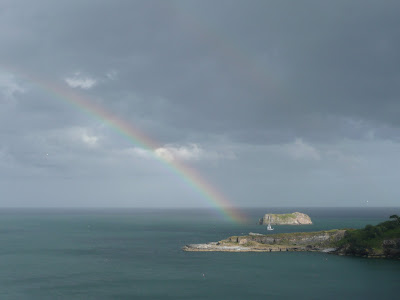 Rainbow looking out to Hopes Nose