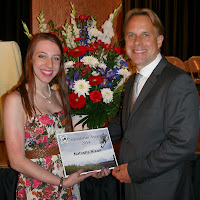 Berlin High School Senior Natasha Nixon receives the Cancellarini Award from Berlin Land Trust Director Carl Vernlund at the Berlin High School Scholarship Ceremony on Tuesday evening (6/10/14).  Photo Credit:  Shannon Manchesi