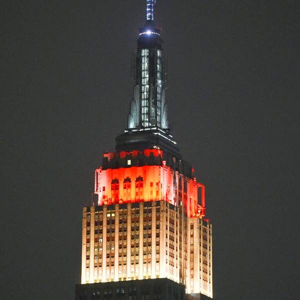 The Empire State Building in New York City, on July 13, 2014, displays the colors of Germany in honor of the Germany after winning the 2014 FIFA World Cup final football match against Argentina by 1-0 following extra-time at the Maracana Stadium in Rio de Janeiro, Brazil.
