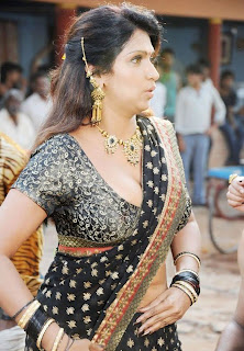 Actress Bhuvaneswari hot in black designer saree