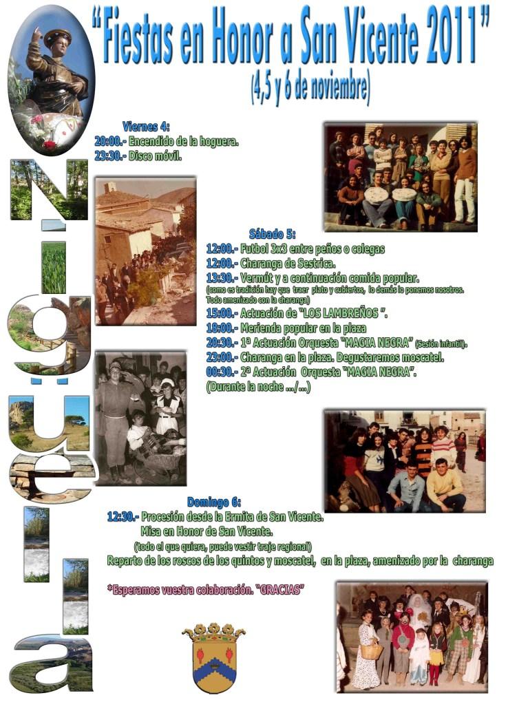 Programa de Fiestas de San Vicente 2011. Nigüella.