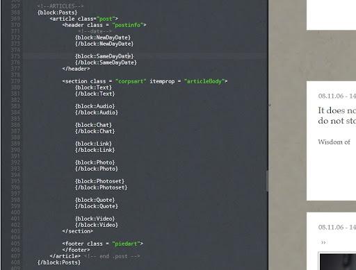 Exemple de structure (le contenu des blocs a été masqué)