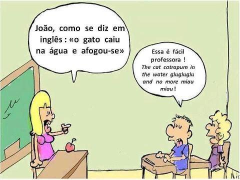 """João, traduz para Inglês: """"o gato caiu na água e afogou-se"""""""