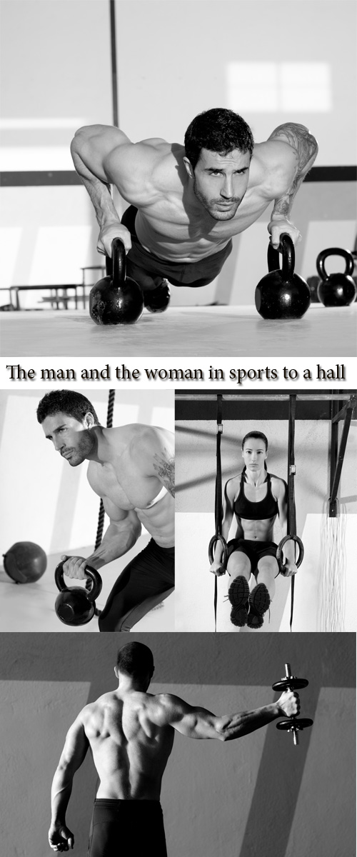 Stock Photo: The man and the woman in sports to a hall
