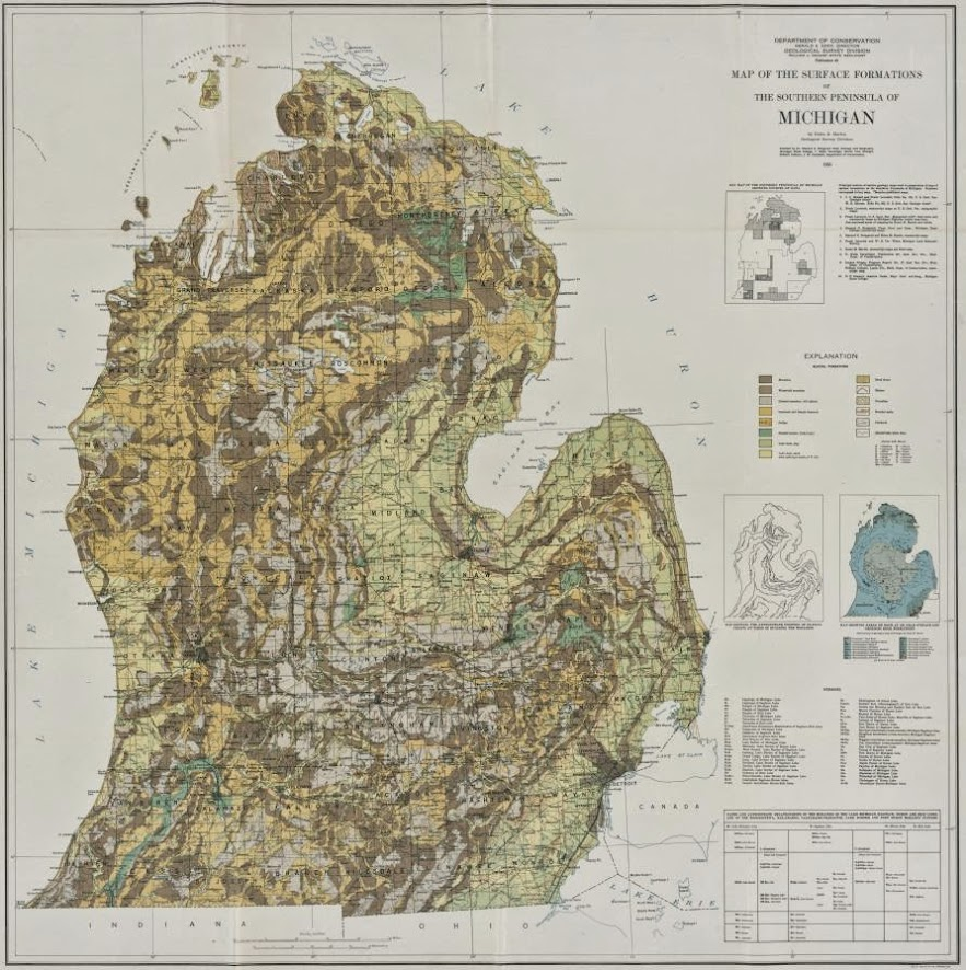 Surface formations of the southern peninsula of michigan 1955 preview the map publicscrutiny Image collections