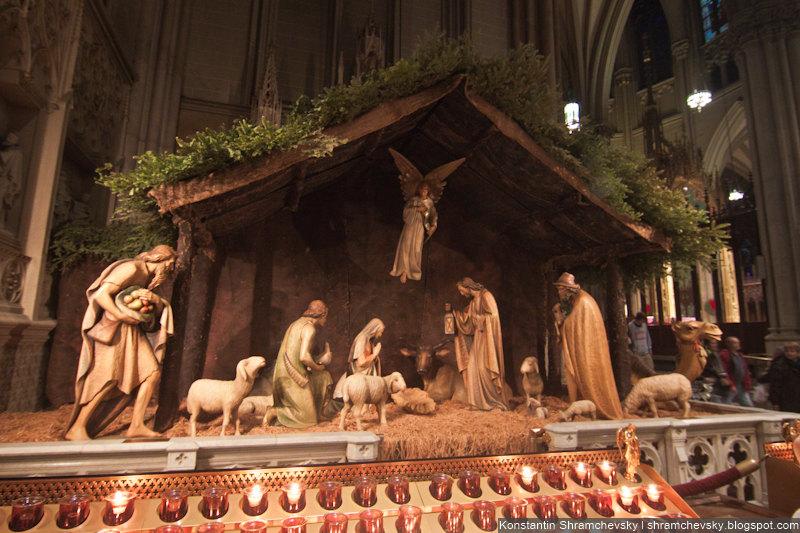 USA New York Christmas Saint Patrick Cathedral Nativity Scene США Нью Йорк Рождество Собор Святого Патрика Рождественский Вертеп