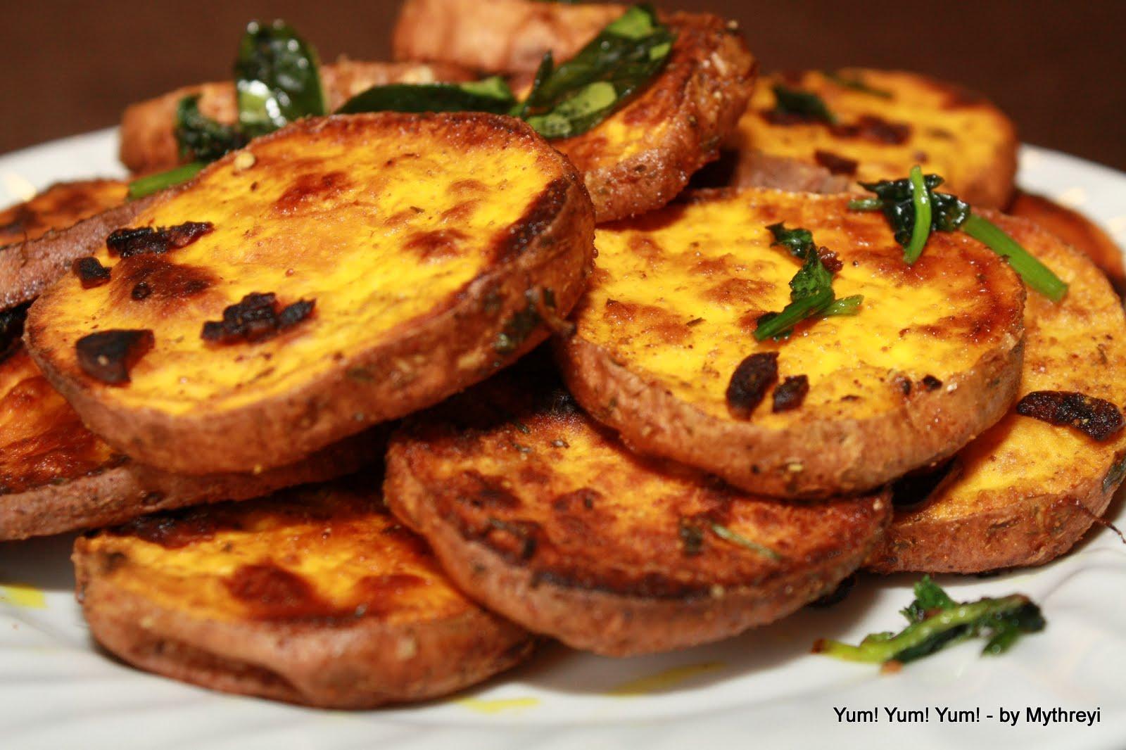 Yum! Yum! Yum!: Garlic Infused Sweet Potato Rounds