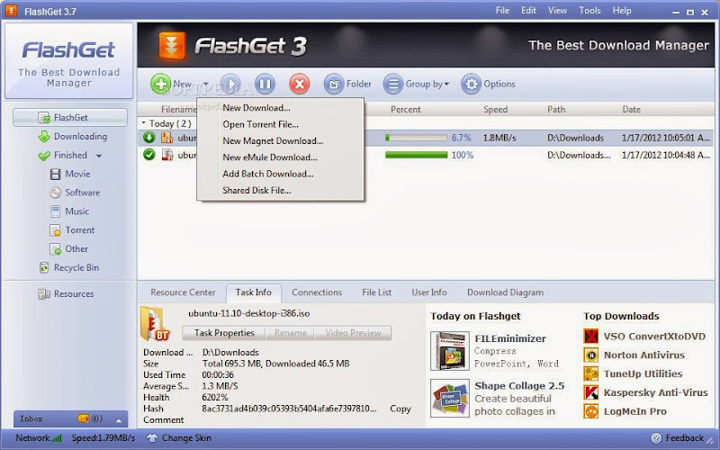 Screenshot of FlashGet v.3.7.0.1220 Download Manager PC Software Free Download at alldownloads4u.com